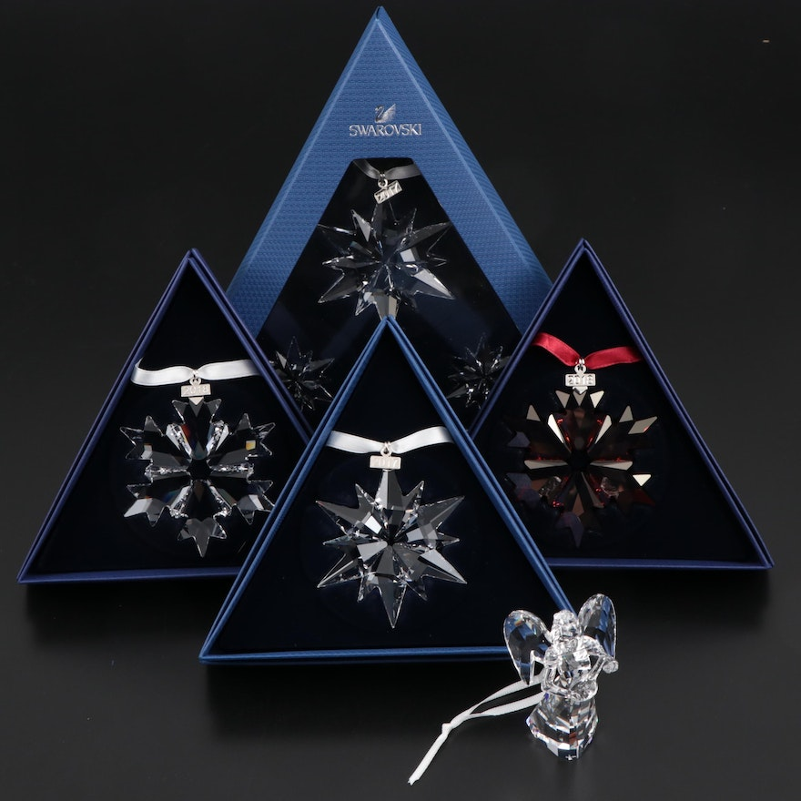 Swarovski Crystal Annual Snowflake and Angel Ornaments, 2017 and 2018