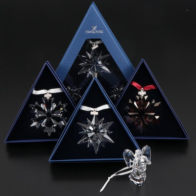 Limited Edition Swarovski Crystal Annual Snowflake and Angel Ornaments
