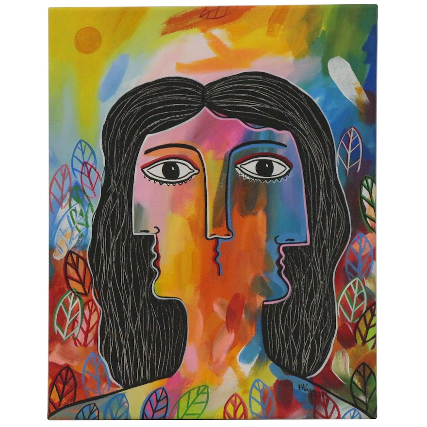 """Michel Blázquez Acrylic Painting """"Woman in the Garden 'Yellow Moon'"""", 2020"""