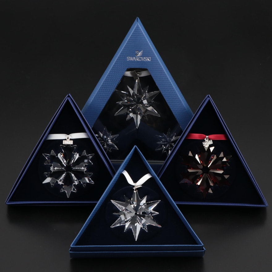 Limited Edition Swarovski Clear and Red Crystal Snowflake Annual Ornaments