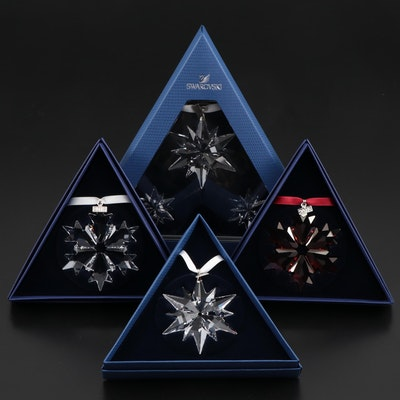 Limited Edition Swarovski Clear and Red Crystal Annual Snowflake Ornaments