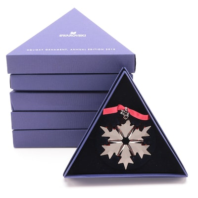 Limited Edition Swarovski Red Crystal Snowflake Annual Ornaments, 2018