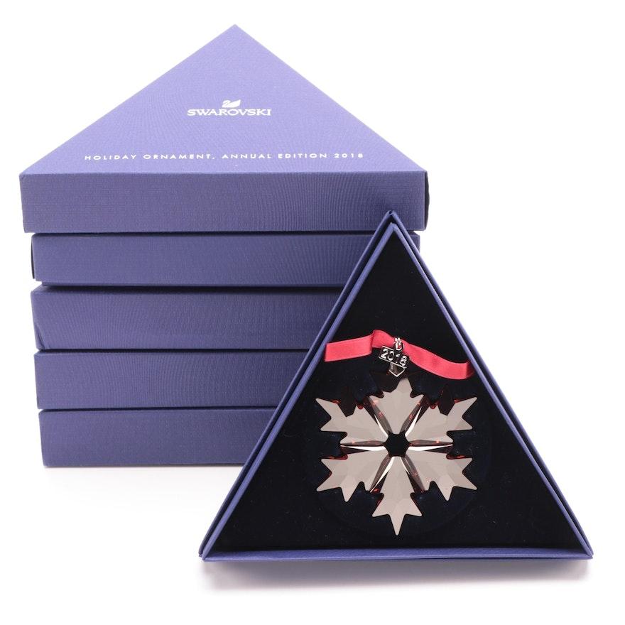 Limited Edition Swarovski Red Crystal Snowflake Annual Ornaments, 2018