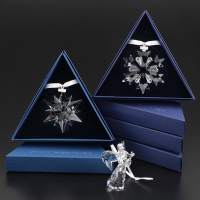 Limited Edition Swarovski Crystal Annual Angel and Snowflake Ornaments