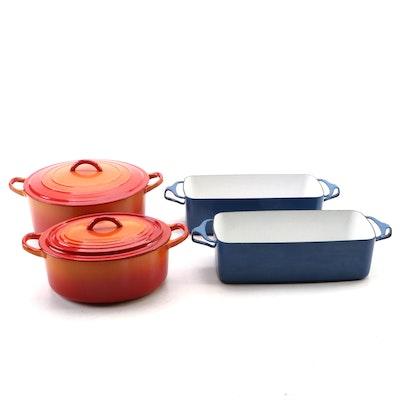 """Le Creuset """"Flame"""" Dutch Ovens, and Dansk Kobenstyle Enamel Loaf Pans"""