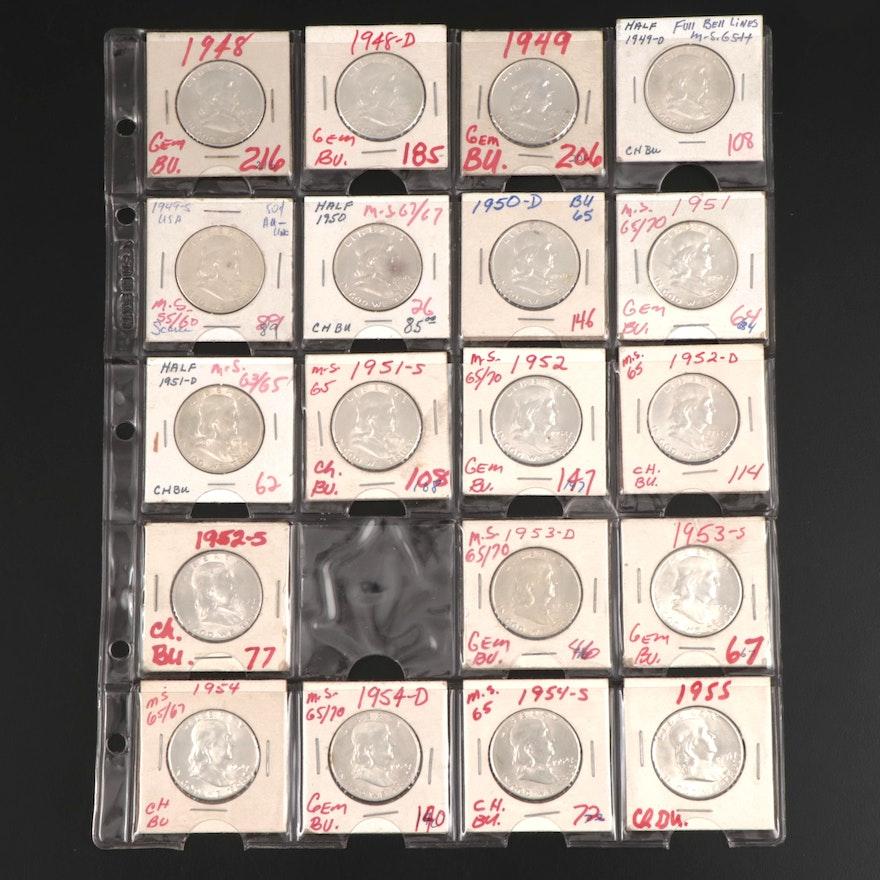 """Nineteen Franklin Silver Half Dollars, Including """"Full Bell Lines"""" 1949-D"""