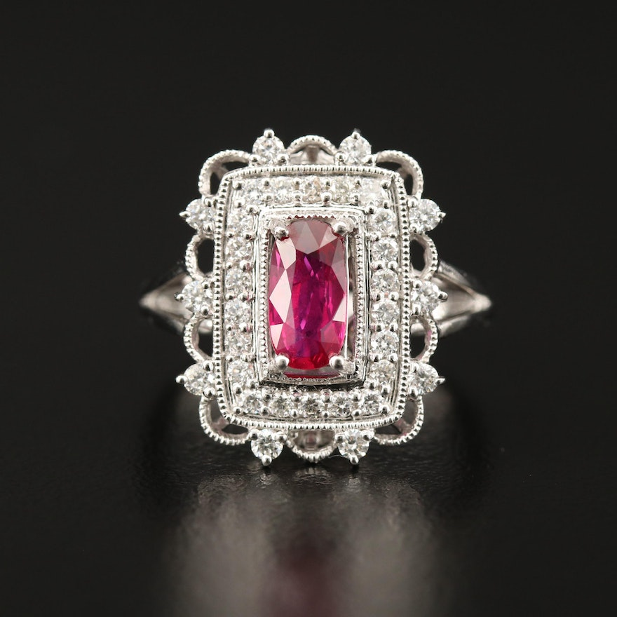 Platinum 1.02 CT Ruby and Diamond Halo Ring with GIA Report