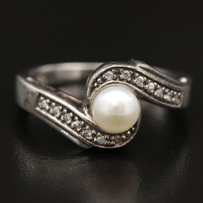 Sterling Silver Pearl and Cubic Zirconia Bypass Ring