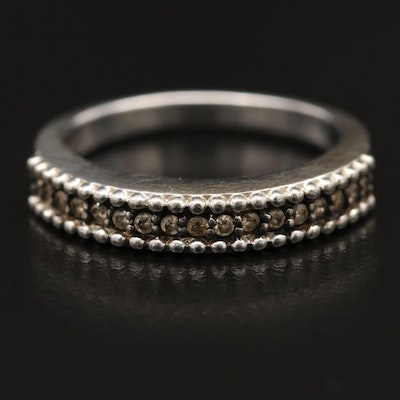 Sterling Silver Diamond Band with Beaded Detailing