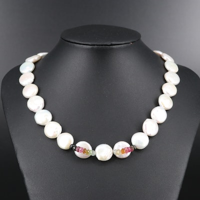 Sterling Tourmaline and Coin Pearl Strand Necklace