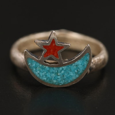 Sterling Stone Pieces Moon and Star Ring