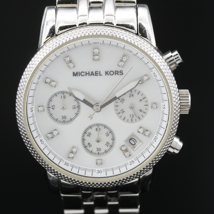 Michael Kors Chronograph Mother of Pearl Dial Stainless Steel Wristwatch