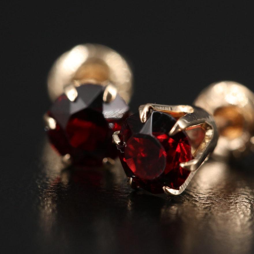 10K Glass Stud Earrings