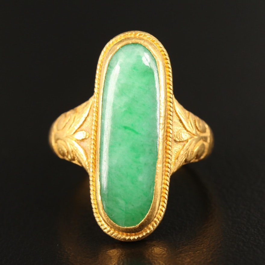 24K Elongated Oval Jadeite Cabochon Ring