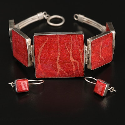 Sterling Coral Panel Bracelet and Dangle Earrings