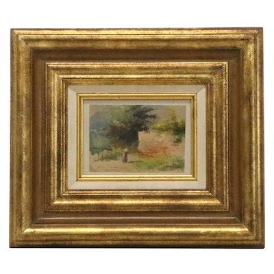 Alberto Prosdocimi Watercolor Landscape Painting, Early 20th Century