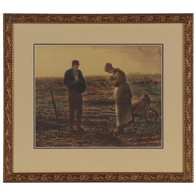 "Hand-Colored Photogravure after Jean-François Millet ""The Angelus"""