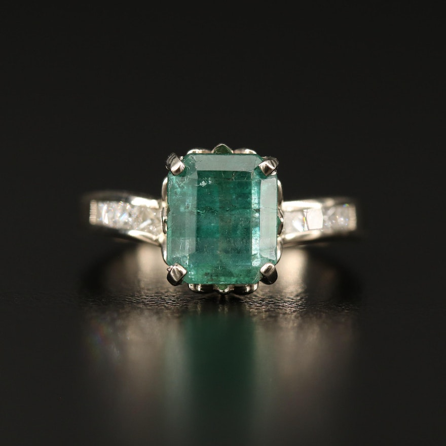14K Emerald and Diamond Ring with GIA Report