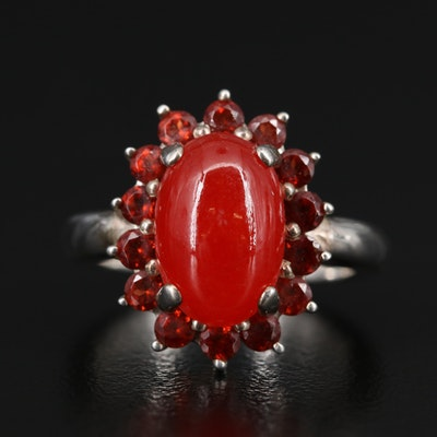 Sterling Silver Quartz Ring with Garnet Halo