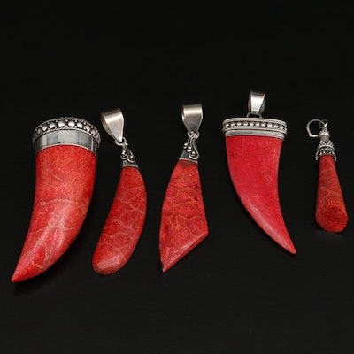 Sterling Silver Coral Pendants Featuring Various Shapes