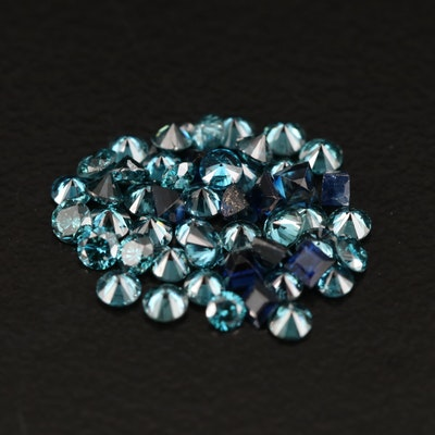 Loose Gemstone Selection Featuring Sapphires and Diamonds