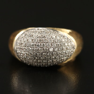 14K 1.00 CTW Pavé Diamond Dome Ring