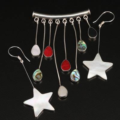Sterling Silver Drop Pendant and Star Earrings