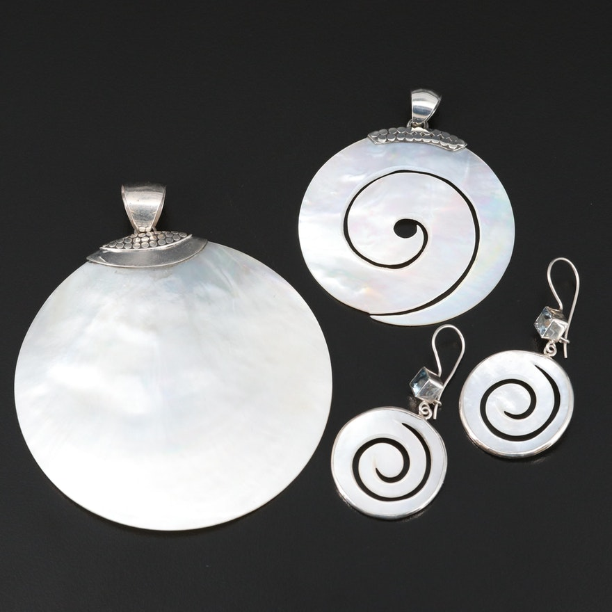 Sterling Silver Mother of Pearl Pendants and Earrings