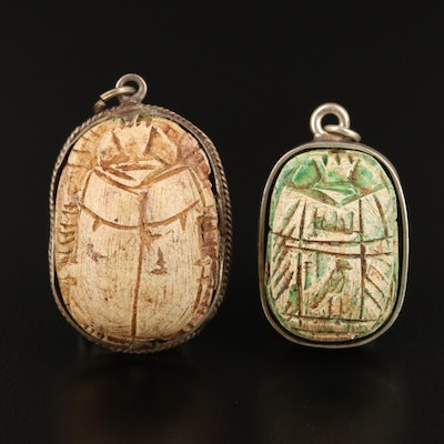 Sterling and 800 Silver Carved Failence Scarab Bead Pendants