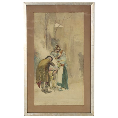 Watercolor Painting of Figures, Late 19th Century