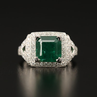 Platinum 3.30 CT Emerald and Diamond Ring