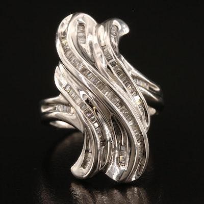 10K Damond Wave Motif Ring