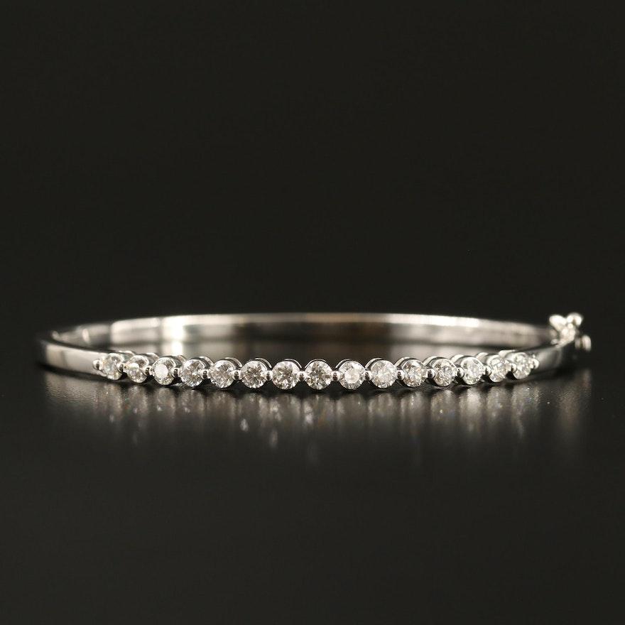 14K Gold 1.35 CTW Diamond Hinged Bangle
