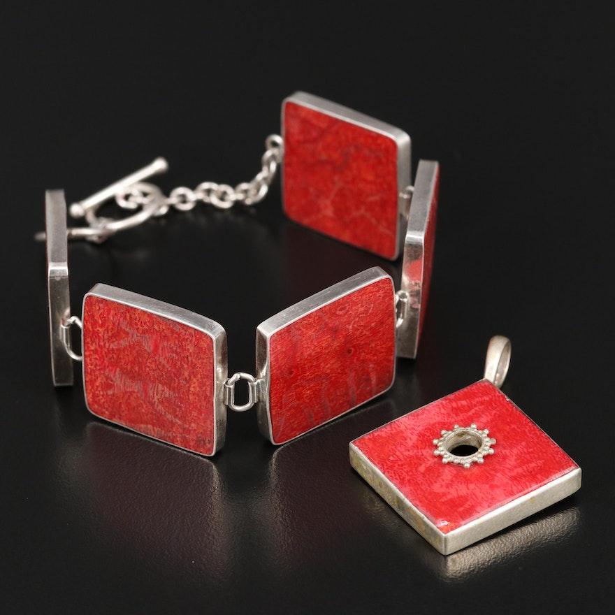 Sterling Coral Square Link Bracelet and Pendant