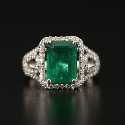 Platinum 3.58 CT Emerald and Diamond Ring with Open Shoulders and AGL Report