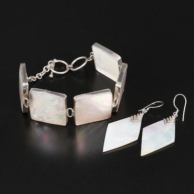 Sterling Mother of Pearl Square Link and Dangle Earrings