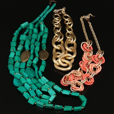 Multi-Strand Beaded, Chain and Link Necklaces Including Coral