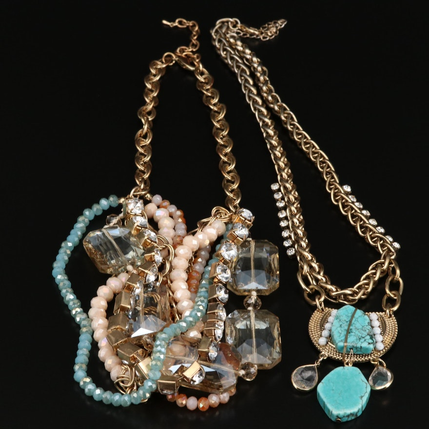Magnesite and Glass Necklaces