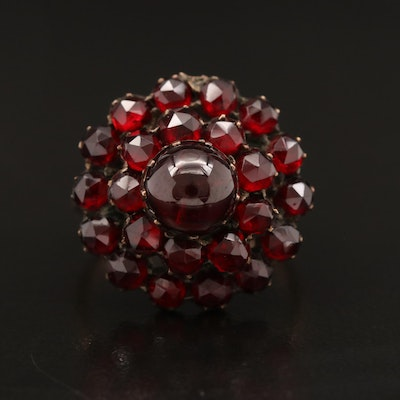 Garnet Cluster Ring with 14K Shank
