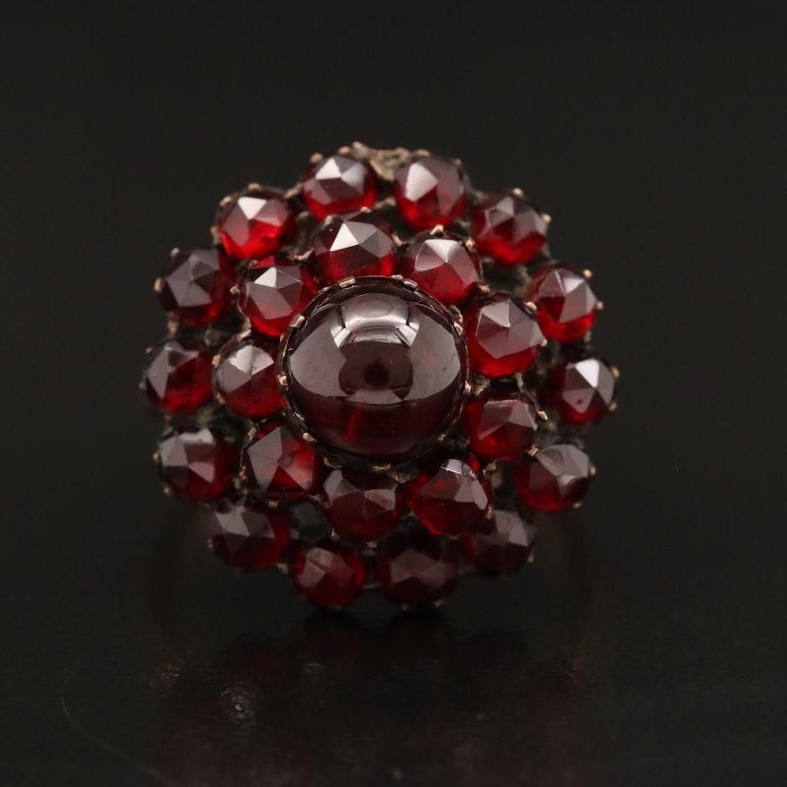 Garnet Cluster Ring with 14K Shank