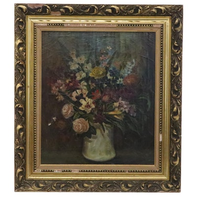 Floral Still Life Oil Painting, 1960