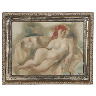 "Charles Cagle Oil Painting ""Pearls,"" Early-Mid 20th Century"