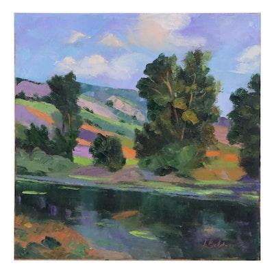 "James Baldoumas Landscape Oil Painting ""Trees & Pond,"" 2020"
