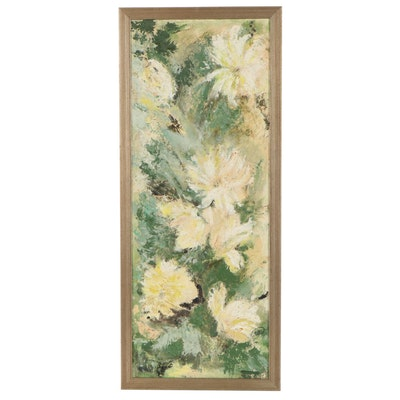 Abstract Floral Oil Painting, Mid-Late 20th Century