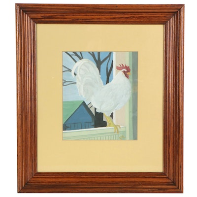 Folk Style Gouache Painting of Rooster, Late 20th Century