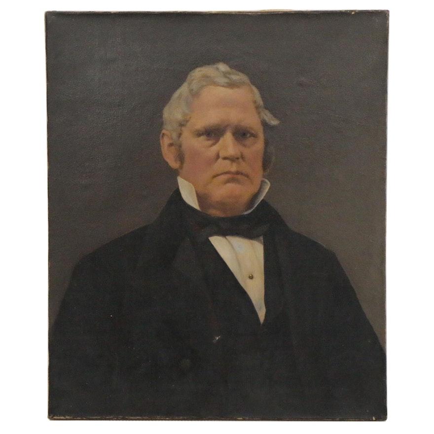 European School Portrait Oil Painting of Gentleman, 19th Century