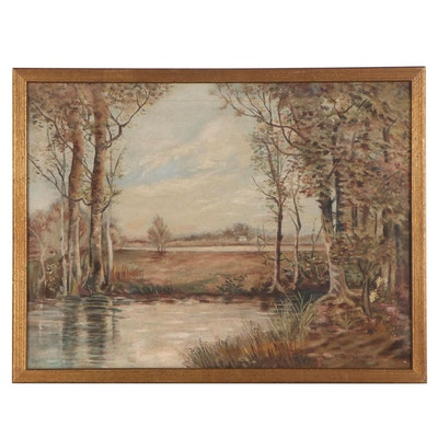 Oil Painting of River Scene, Mid-Late 20th Century