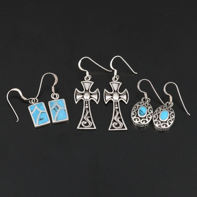 Sterling Earrings Selection Featuring Imitation Turquoise Inlay and Crosses