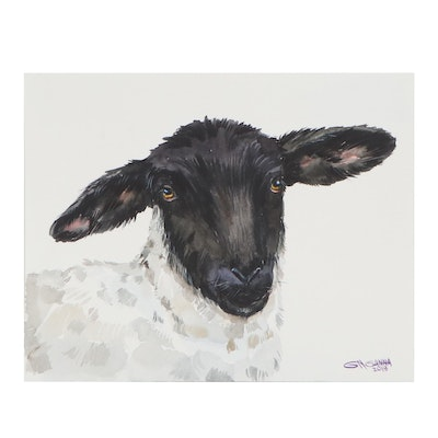 "Ganna Melnychenko Watercolor Painting ""Black Faced Sheep Portrait,"" 2019"
