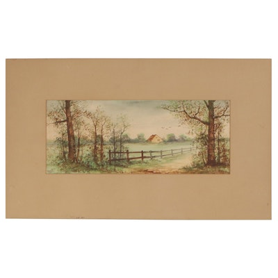 Pauline Colyar Rural Landscape Watercolor Painting, Early 20th Century